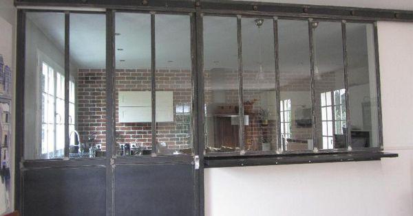 Cloison s paration cuisine salon coulissante type atelier for Cloison atelier cuisine
