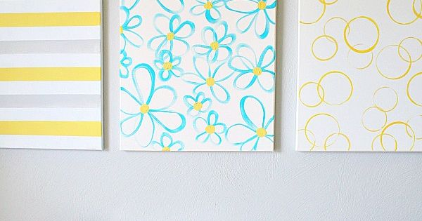 Easy DIY Canvas Wall Art Yellow Gray Turquoise Diy Wall Art And Diy Wall