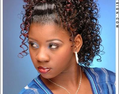 Curly Ponytail And Bump Bangs Black Weave Hairstyles