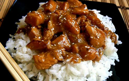 The picture is of the crock pot Sesame chicken. BROWN SUGAR GARLIC