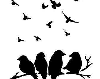 11 7 16 5 Pajaros En La Plantilla De Ramas Aves 2 Por Lovestencil Silueta De Aves Pajaro Silueta Plantilla De Aves