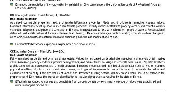 Sample Resume: Appraiser Resume Exle Real Estate Free.  Real Estate Appraiser Resume