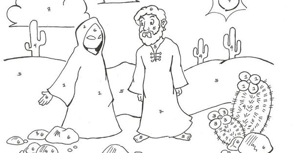 Heals Paralytic Flip Chart Paralyzed Coloring Page: Jesus-temptation-color-by-number.jpg (800×612jesus