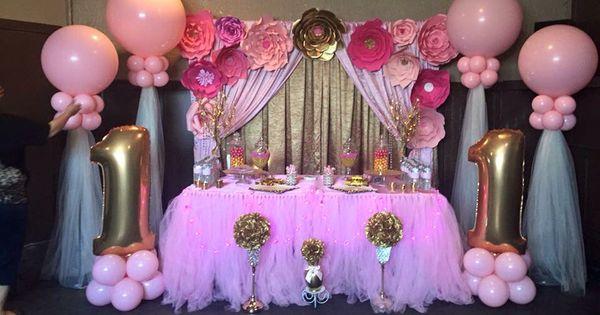 Decoracion rosa y dorado bautizo para ni a pinterest - Adornos de cumpleanos para nina ...