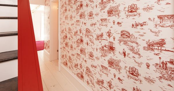 LOVE the red banister! Beastie Boy's Mike Diamond designed this: Brooklyn Toile