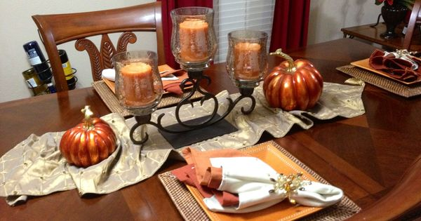 Fall tablescape featuring pier amber luster centerpiece
