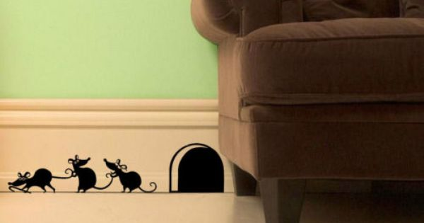 Funny 39 3 Blind Mice 39 Wall Stickers For Doors Walls Skirting Wall Sticker Mice And Doors