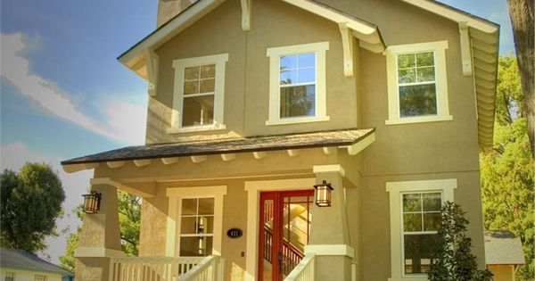 Red Door Homes Floor Plans: Beige Siding, White Trim, Black Shutters, Red Door