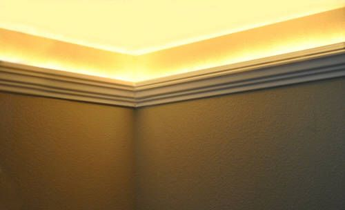 Install Led Rope And Indirect Lighting In Foam Crown Molding Foam Crown Molding Crown Molding Lights Basement Lighting