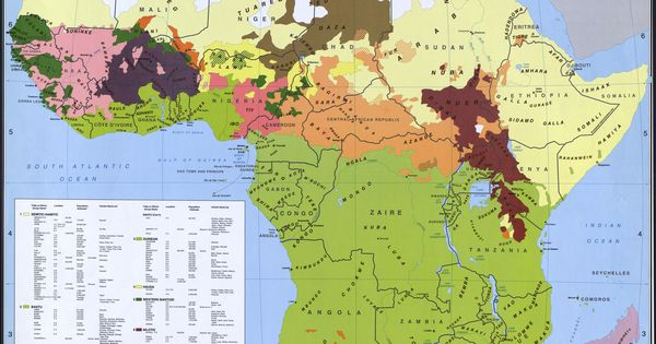 Map of African Tribes | Stamped Library of Congress 1996 ...