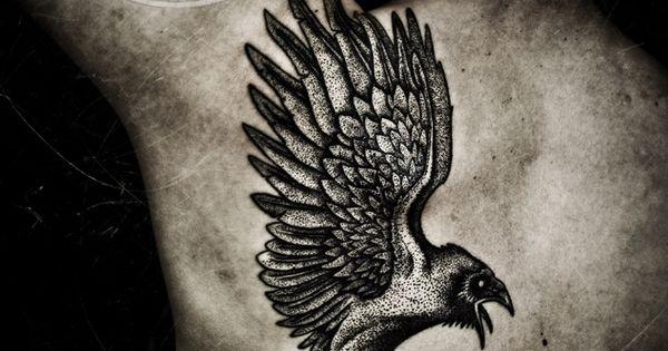 raven tattoo on back blackhand nomad peter madsen pinterest raven tattoo ravens and tattoo. Black Bedroom Furniture Sets. Home Design Ideas