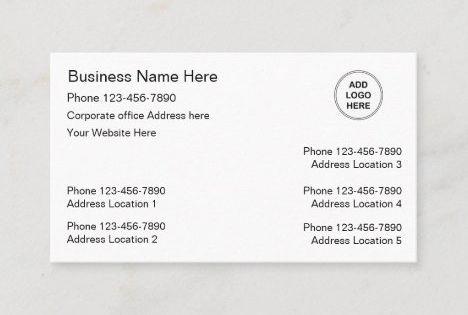 Multiple Location Business Cards Logo Template Zazzle Com Business Card Logo Logo Templates Business Card Template