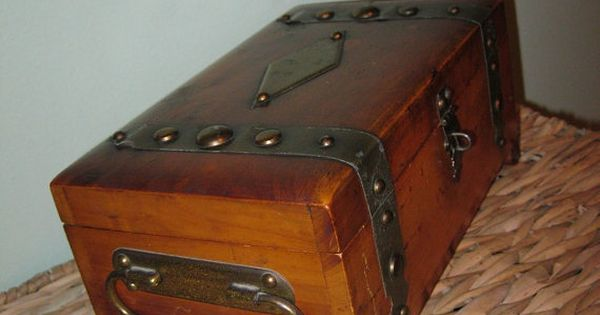 1940s Antique Mens Jewelry Box Treasure Chest Pilliod