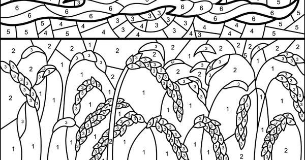 Wheat Field Color By Number Free Printable Coloring Pages Free