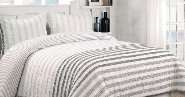 Nicole Miller Grey White Gray Seersucker Full Queen 3pc Textured Duvet Cover Set