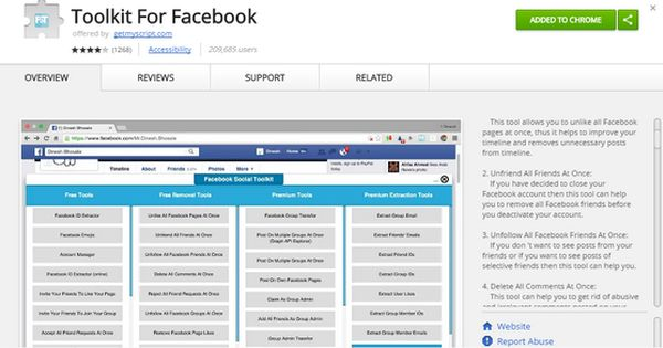 اضافة Toolkit For Facebook علي جوجل كروم للتحكم في الكثير من الادوات للفيسبوك Social Media Tool Toolkit Facebook