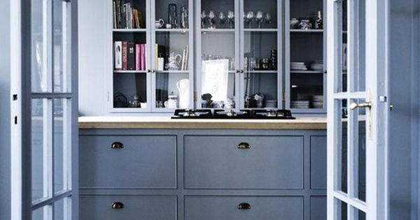 Marvelous Blue Kitchen Decor Inspirations : Catchy Blue Kitchen Design with Light