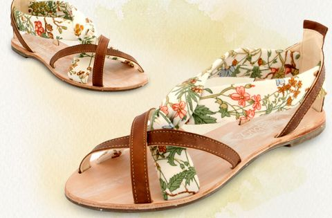 "Cholesburys ""Felicity"" sandals, handmade with vintage Osman Textiles fabric"