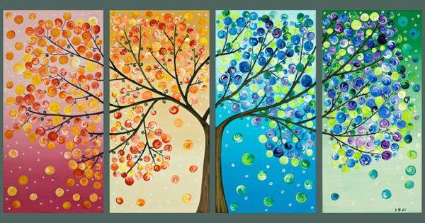 Tree painting wall decor