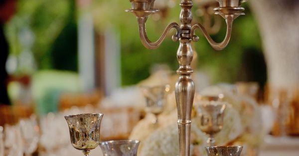 Medium centerpiece idea silver candelabra with taper