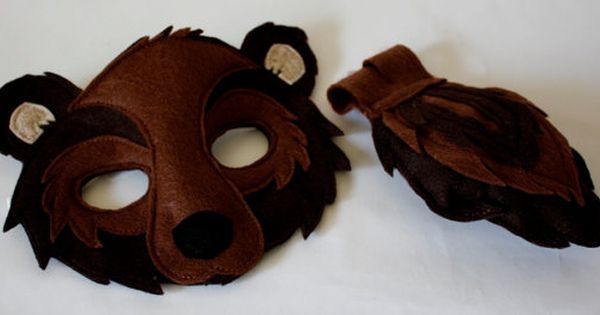 Bronson The Black Bear Woodland Mask And Tail For Pretend