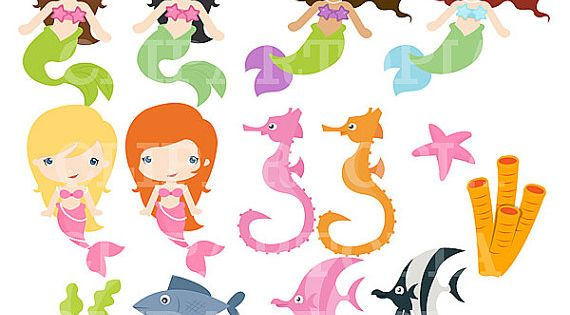 Cute mermaid digital clipart little mermaid by