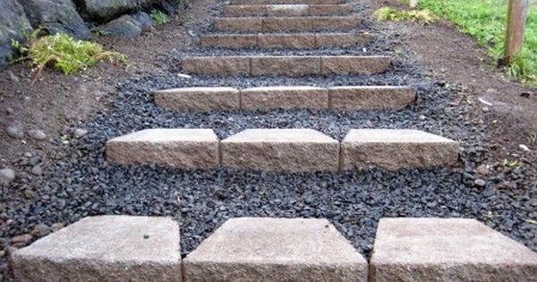 Landscape Construction Steps Instead Of Wood Landscape Stairs Sloped Backyard Sloped Garden
