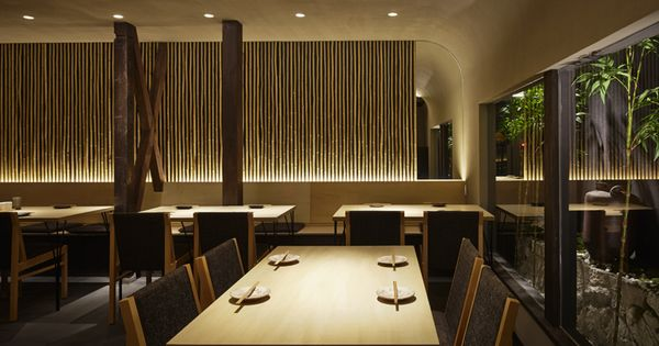A Japanese restaurant interior design by Compas Architects.  Hilton  Pinterest ...