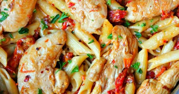 - DONE in 30 Minutes! Cheese Chicken Pasta with Sun-Dried Tomatoes Recipe