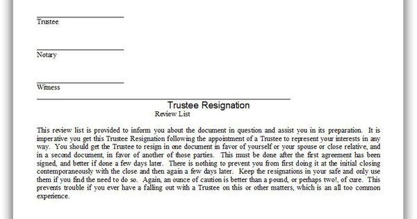 Printable Trustee Resignation Template Printable Legal
