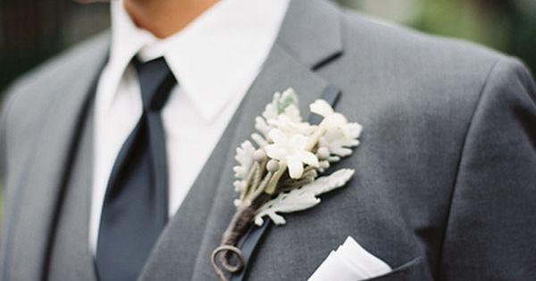 Wedding tie - dusty miller boutonniere | Clark Brewer #wedding
