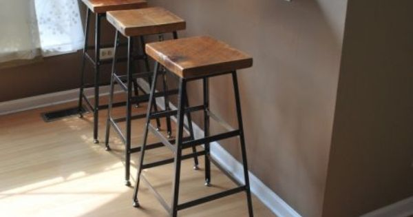 Reclaimed Wood And Steel Factory Shop Stools Made In Chicago Industrial