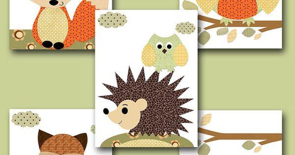 Fox Nursery Owl Nursery Baby Boy Nursery Art by artbynataera i would