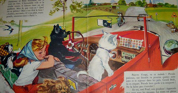 L Automobile De Caroline Vintage Illustration Cats And Kittens Illustration Art
