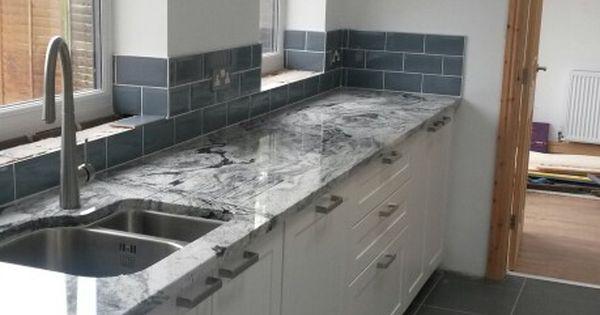 Viscount white granite with blue ice metro tiles  Granite, Marble & Engineered Stones ...