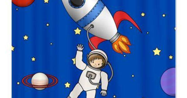 Cute Space Walk Astronaut Shower Curtain A Cute Little