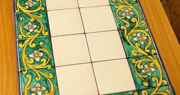 Tavolo in ceramica mattonelle in maiolica dipinta a mano dec 01 pinterest - Tavolo con piastrelle ...