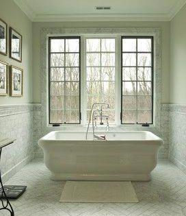 Bathtub Reglazing Herringbone Tile Floors Traditional Bathroom