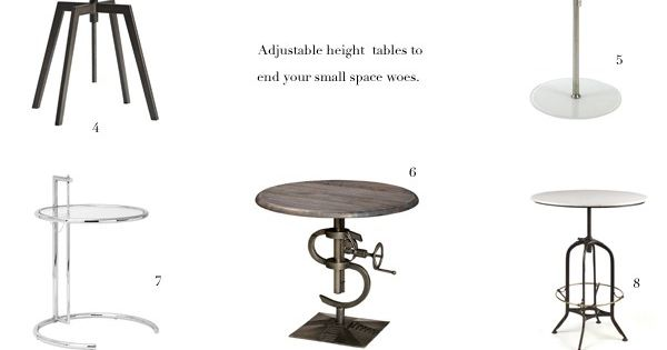 A godsend for small spaces these tables adjust in height for Tall dining tables small spaces