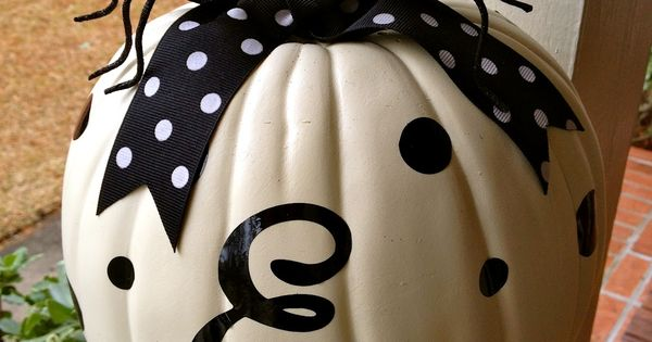 White Pumpkin From Michaels Monogram and Polka Dots Cut With Cricut Machine