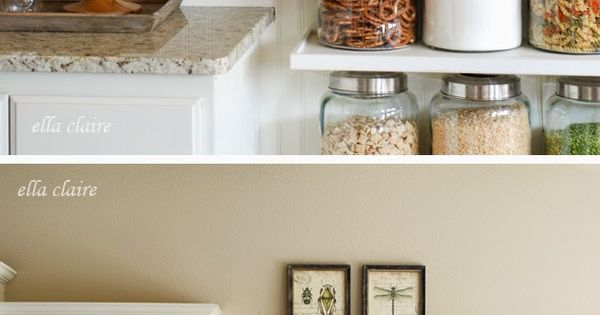 DIY Open Kitchen Shelves. A pretty and unique way to add more