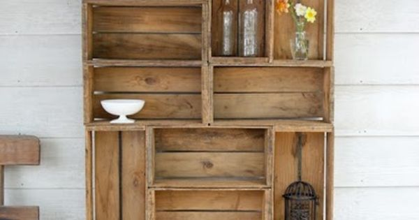 Wine crates shelving unit