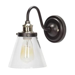Globe Electric Jackson 1 Light Oil Rubbed Bronze And Antique Brass Wall Sconce Light With Clear Glass Shade 64932 The Home Depot Vintage Wall Sconces Brass Wall Sconce Wall Sconce Lighting