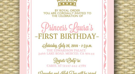 Royal First Birthday Invitation - Royal Baby Girl Shower - Printable, Her