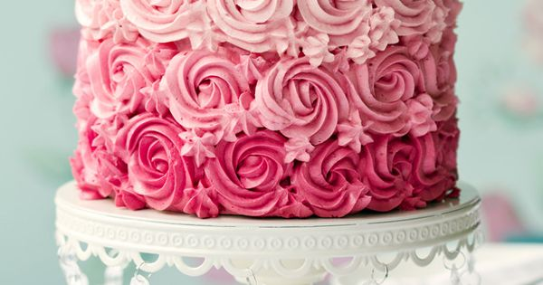 Birthday cake- the ombre fluffy white cake recipe in pink pastels