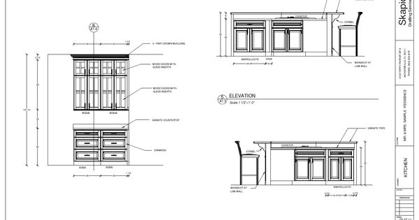 Floor Elevation Technique : Sample kitchen elevations shop drawings pinterest