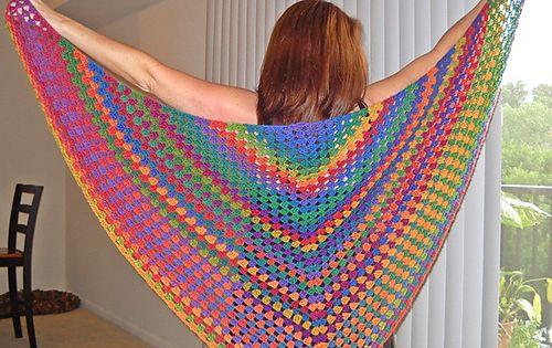 Half Granny Square Shawl: free pattern ravelry.com crochet shawl grannysquarehalf