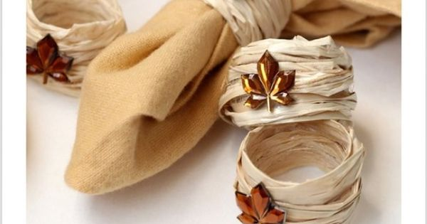 Fall diy napkin rings using raffia thanksgiving rustic for Diy fall napkin rings