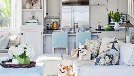living room / family room. kitchen. beachy colors in the home. home