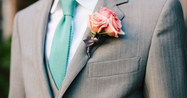 GROOMS SUIT. Grey suit and blue tie. Whimsical South Carolina Wedding Wedding